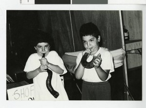 Children blowing Shofars